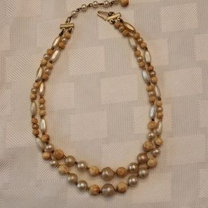 """Vintage Jewelry - Vintage Bead & Faux Pearl Necklace 16"""" 2 Strand"""